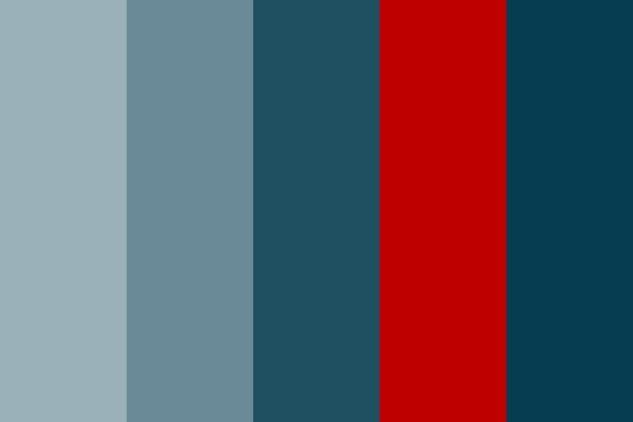 C Blues With Red Color Palette