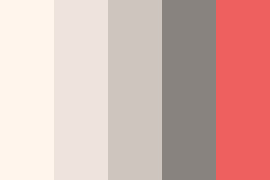 Coral Pop With Grey Color Palette