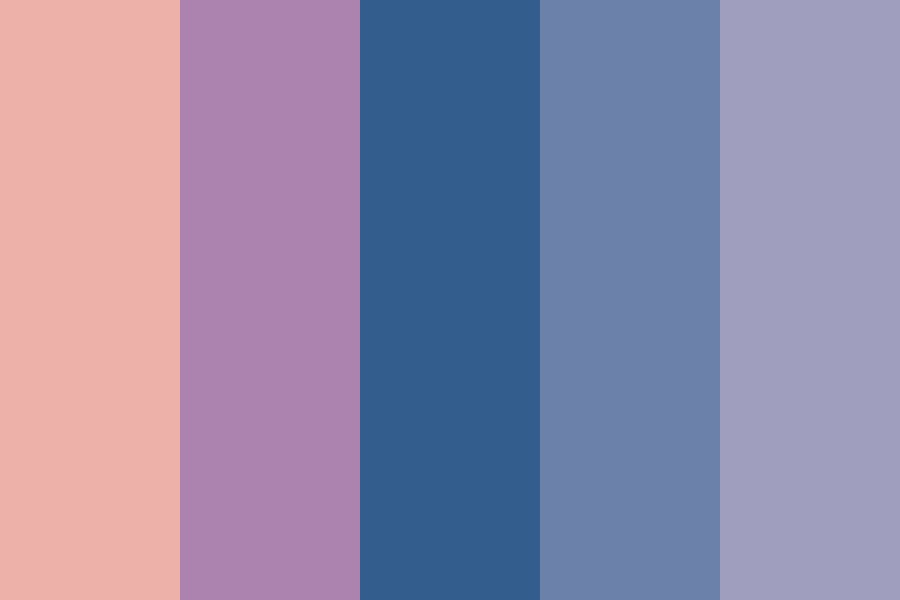 Dusty Peach To Blue To Lavender Color Palette