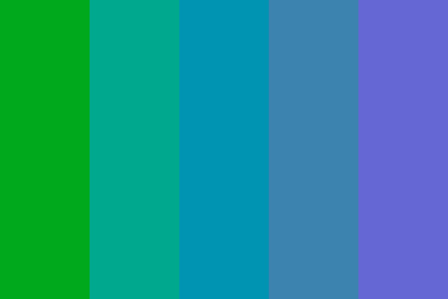 Green To Blue To Purple Color Palette