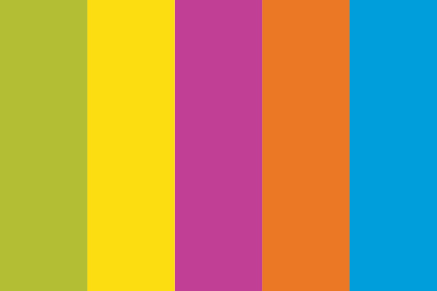 Green yellow pink orange blue Color Palette