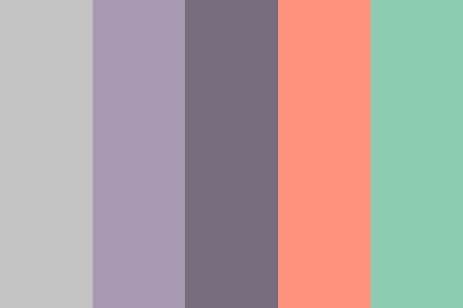Grey Taupe Coral Mint Color Palette