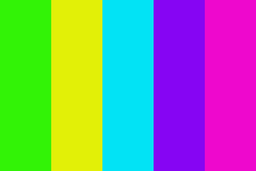 Neons Yellow Green Blue Purple And Pink Color Palette