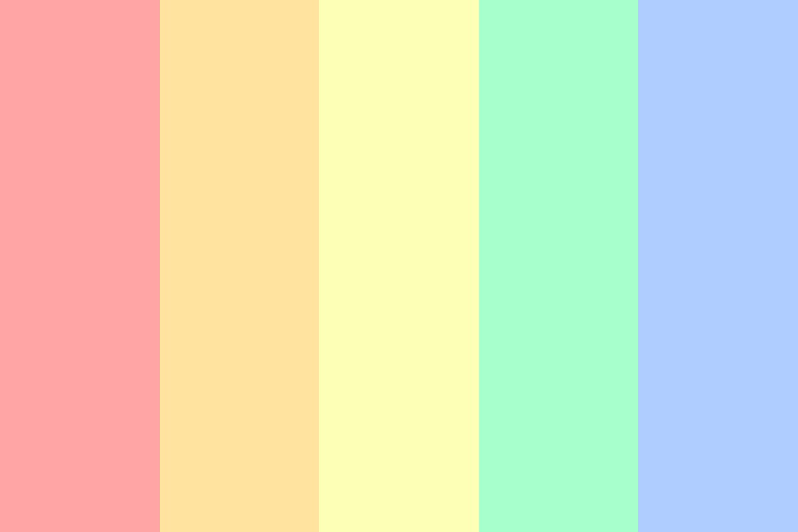 Pastel Rainbow Red To Blue Color Palette