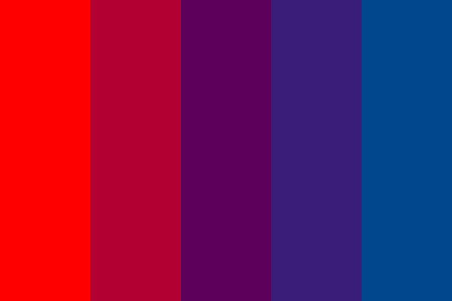 Red To Plum To Blue Color Palette