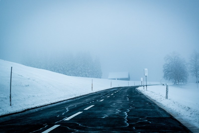 Snowy Road In Winter Color Palette