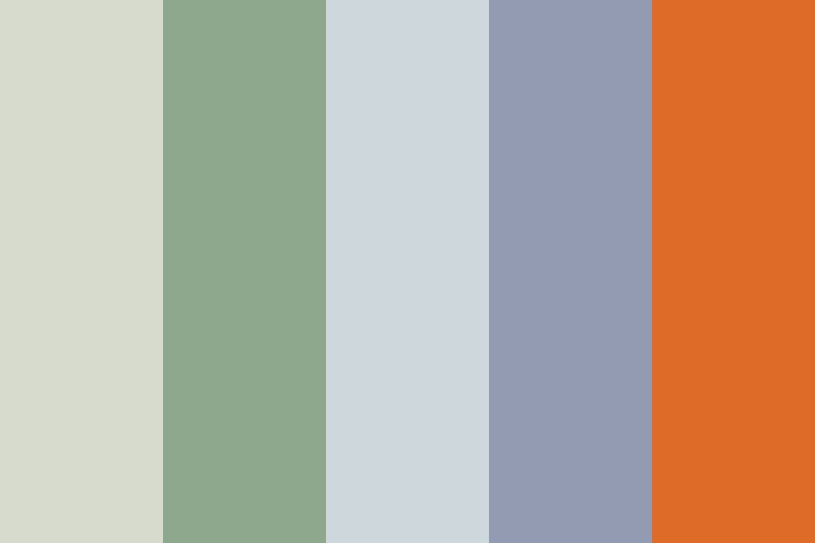 Soft Bluesy orange Color Palette