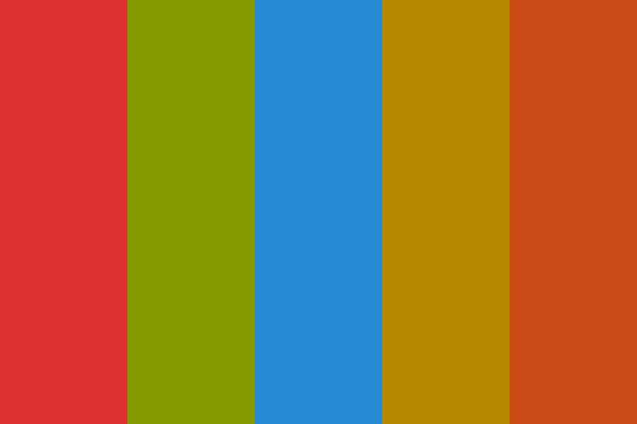Sol Red Green Blue Yellow Orange Color Palette